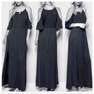 Black off the shoulder side slit maxi dress